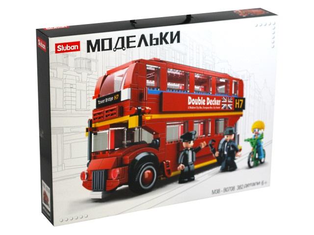 Конструктор  382 детали Sluban Модельки Лондонский двухэтажный автобус M38-B0708