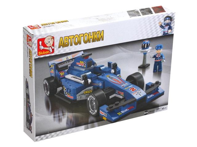 Конструктор  277 деталей Автогонки Формула-1 Синий гоночный автомобиль Sluban M38-B0353