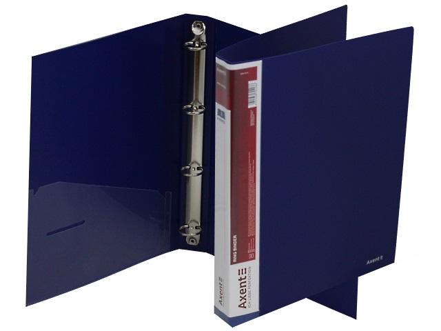 Папка 4 кольца А4 35мм d=25мм Axent синяя с карманом 1208-02-A