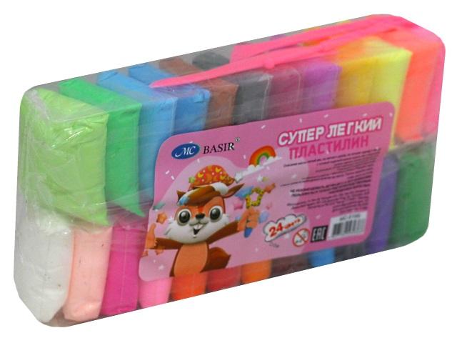 Пластилин легкий 24 цвета с инструментами Basir МС-5195