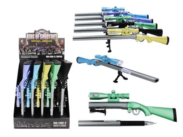 Ручка масляная детская Basir 1109-2 Ружье синяя 1мм