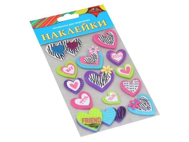 Наклейки для декора Апплика EVA Сердечки С3476-06