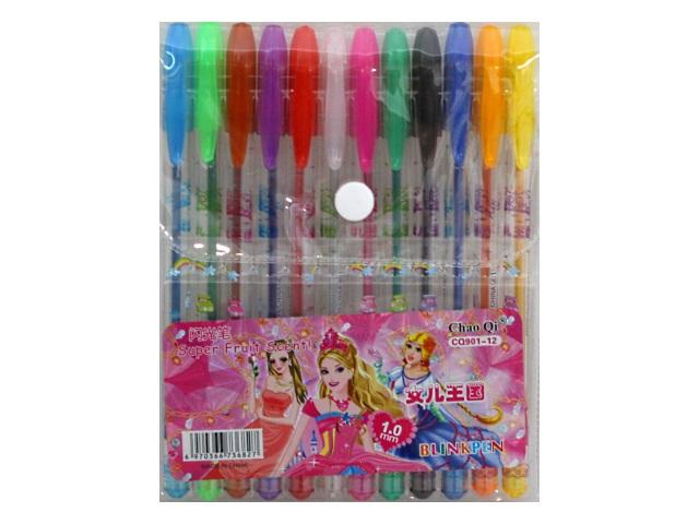 Ручка гелевая набор  12цв Basir Принцесссы 0.5мм с блестками CQ-901-12