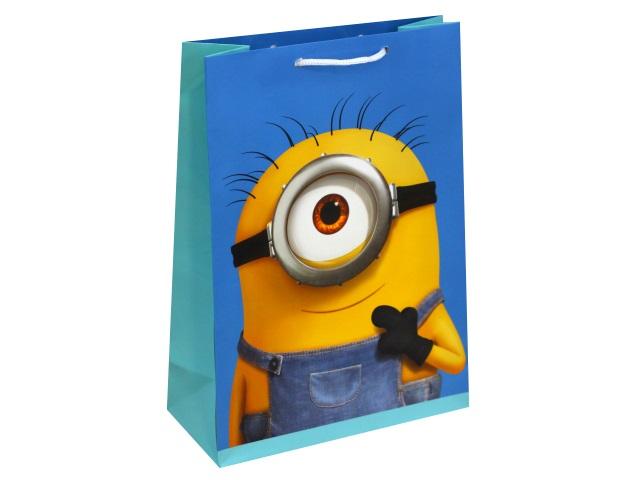 Пакет подарочный бумажный 25*34*10см NDPlay Minions-2 голубой 288408