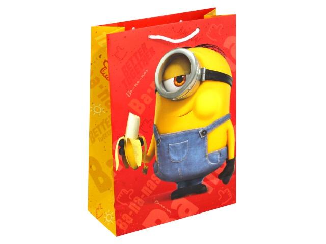 Пакет подарочный бумажный 25*34*10см NDPlay Minions-2 желто-красный 288409