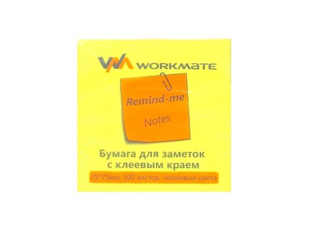 Стикер 75* 75мм 100л неон желтый WM 003001308