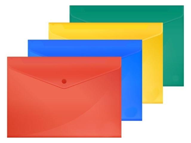 Папка конверт на кнопке А4 Бюрократ цветная 180мкм PK860