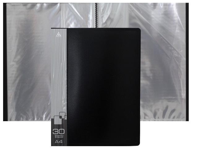 Папка с файлами  30ф А4 Бюрократ 0.65мм черная BPV30BLCK 816936