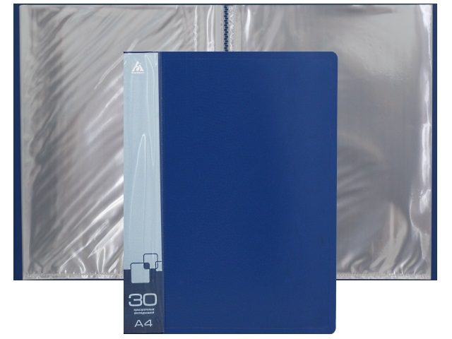 Папка с файлами  30ф А4 Бюрократ 0.65мм синяя BPV30BLUE 816937