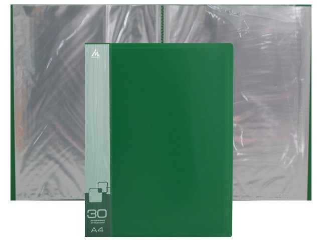 Папка с файлами  30ф А4 Бюрократ 0.65мм зеленая BPV30GRN 816939
