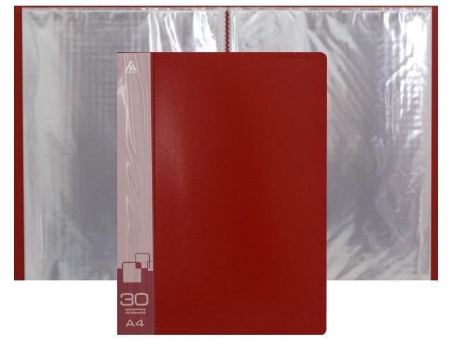 Папка с файлами  30ф А4 Бюрократ 0.65мм красная BPV30RED 816940