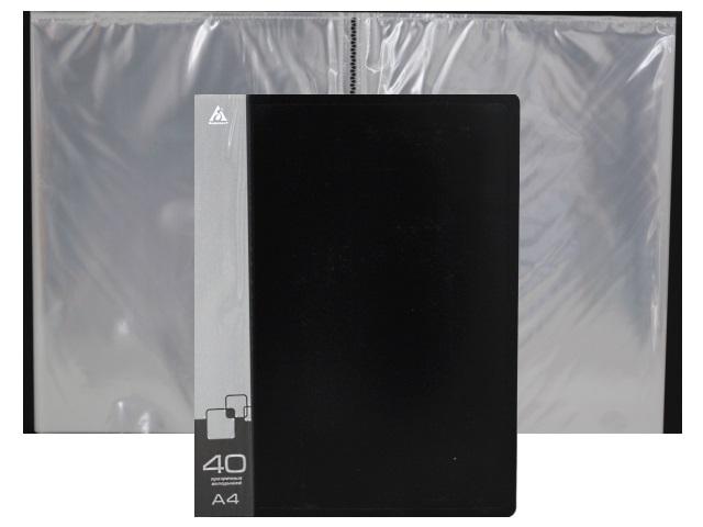 Папка с файлами  40ф А4 Бюрократ 0.65мм черная BPV40BLCK 816943