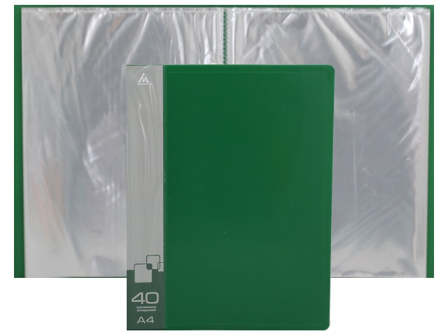 Папка с файлами  40ф А4 Бюрократ 0.65мм зеленая BPV40GRN 816946