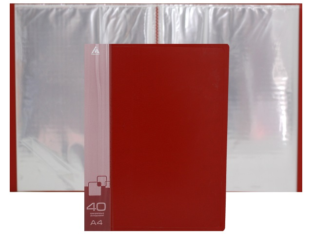 Папка с файлами  40ф А4 Бюрократ 0.65мм красная BPV40RED 816947