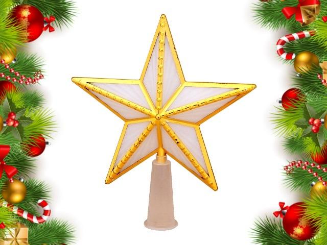Ёлочная игрушка Верхушка Звезда с золотом 15*15см разноцветная от сети Miland НЛ-8349