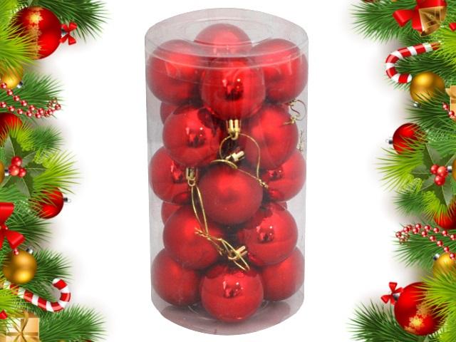 Ёлочная игрушка набор 20 шт. Новогодние краски 5см красные Miland НУ-0400