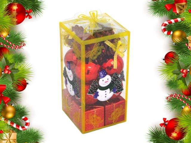 Ёлочная игрушка набор 16 шт. Снеговичок 5см красные Miland НУ-4410