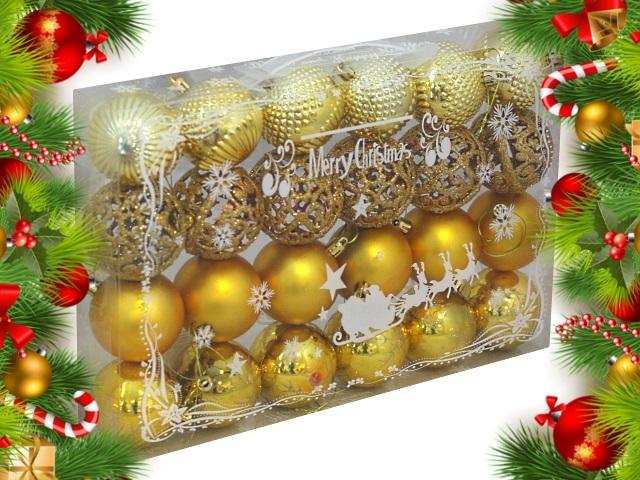 Ёлочная игрушка набор 24 шт. Шар D=6см С праздником! золотые Miland НУ-0384