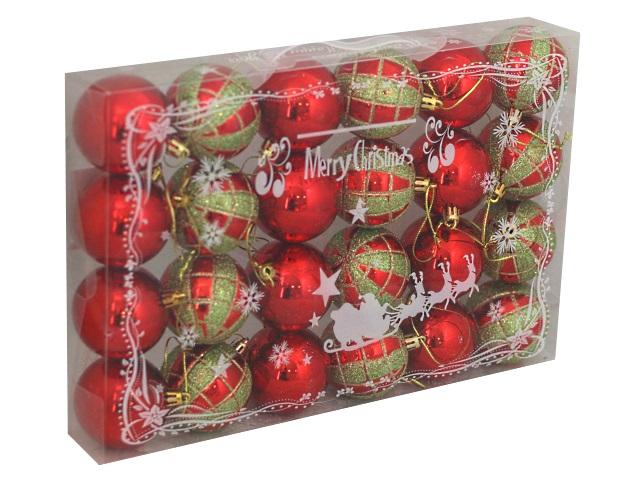 Ёлочная игрушка набор 24 шт. Шар D=6см С праздником! красно-зеленые Miland НУ-0386