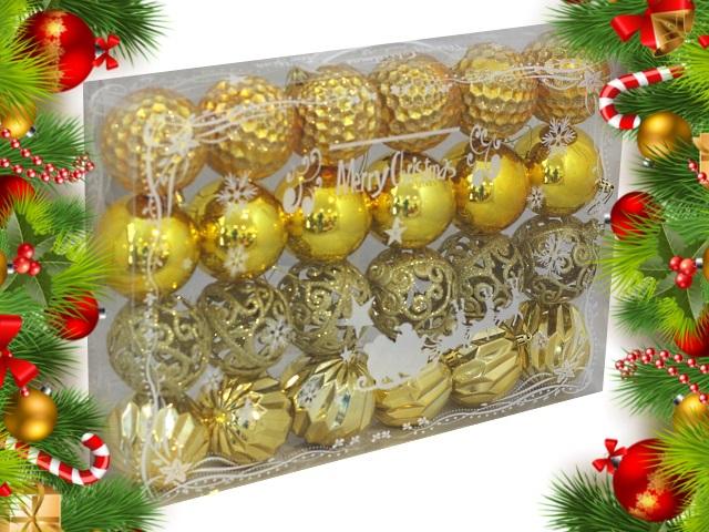 Ёлочная игрушка набор 24 шт. Вьюга 8см золотые Miland НУ-0389