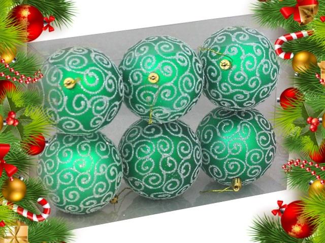 Ёлочная игрушка набор  6 шт. Шары Узоры 10см зеленые Miland НУ-0416
