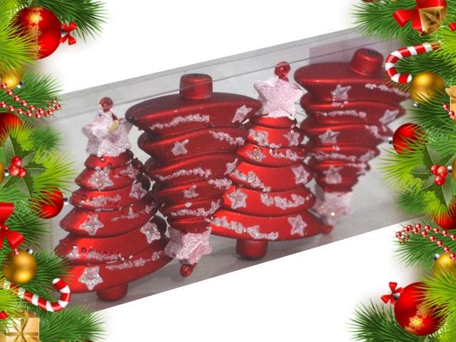 Ёлочная игрушка набор  4 шт. Красивая ёлка 10 см Miland НУ-0450