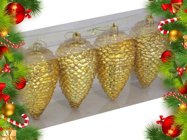 Ёлочная игрушка набор  4 шт. Красивые шишки 12см золотые Miland НУ-0438