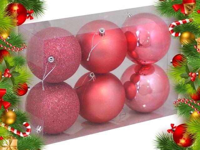 Ёлочная игрушка набор  6 шт. Шары Рождественская сказка 10см коралловые НУ-0407