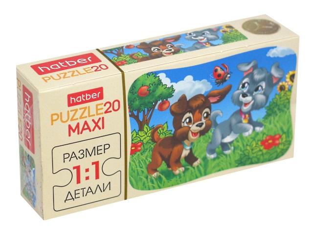 Пазлы Maxi 20 деталей Hatber Веселые щенки 20ПЗ5_13406