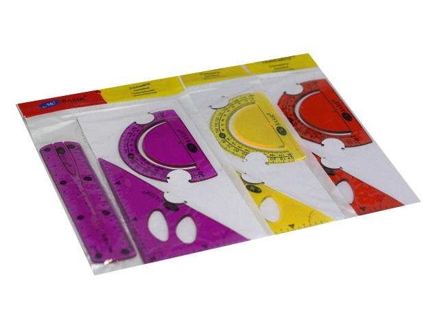 Набор чертёжный 3 предмета 15 см Basir гибкий цветной МС-5162