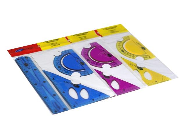 Набор чертёжный 3 предмета 20 см Basir гибкий цветной МС-5163