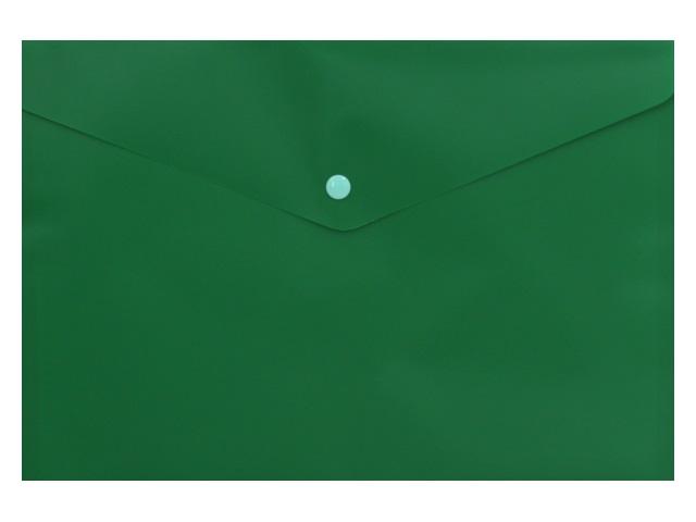 Папка конверт на кнопке А4 Бюрократ зеленая 180мкм PK803ANgrn 816636