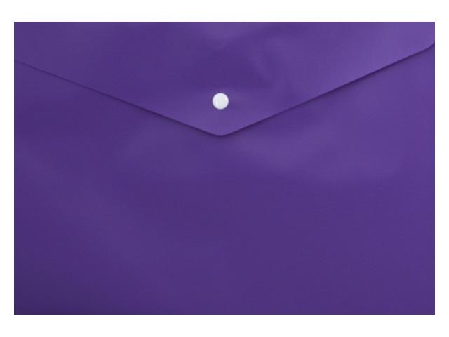 Папка конверт на кнопке А4 Бюрократ фиолетовая 180мкм PK803ANvio