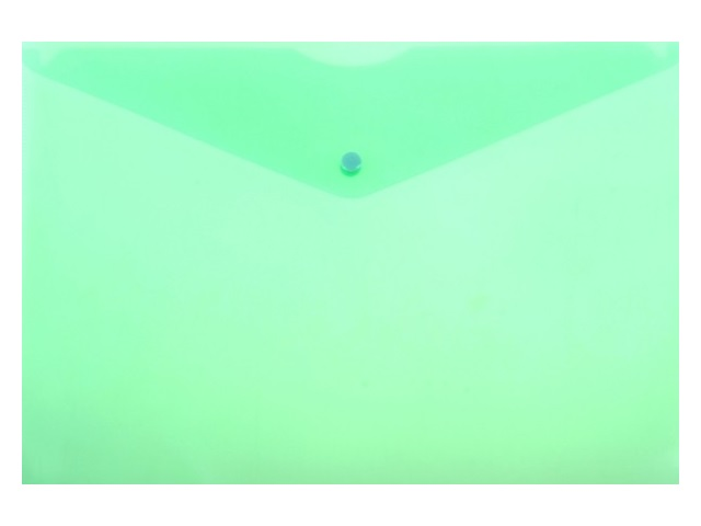 Папка конверт на кнопке А4 Бюрократ зеленая 150мкм PK803Tgrn