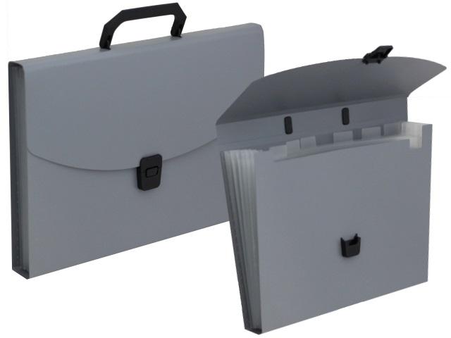Портфель А4 пластик Бюрократ  6 отделений серый BPP6grey 876029