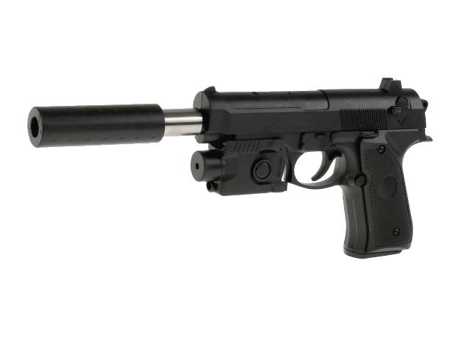 Пистолет на гель пульках 16см с лазерным прицелом и глушителем 100002047