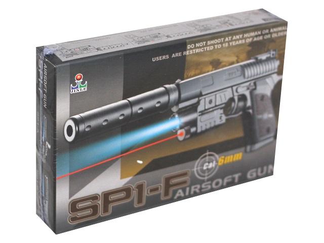 Пистолет на пульках 20см с лазерным прицелом. фонариком и глушителем SP1-F 100000258
