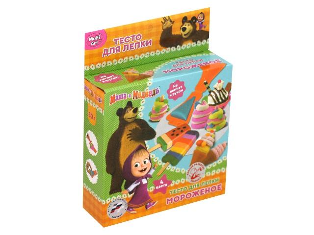 Тесто для лепки  4 цвета по 20г с формочками Мороженое Маша и медведь MultiArt B1372157-MM