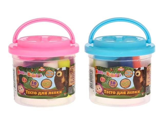Тесто для лепки 10 цветов по  7.5г Маша и медведь MultiArt S75101PD-MM