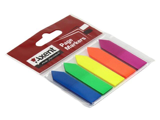 Стикер-закладка Axent 5*45*12мм 5 цветов по 25л Стрелки D2450-02