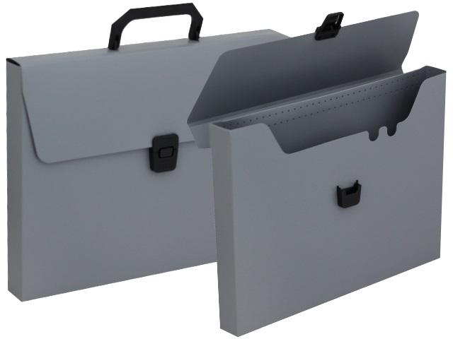 Портфель А4 пластик Бюрократ  1 отделение серый BPP01grey 816262