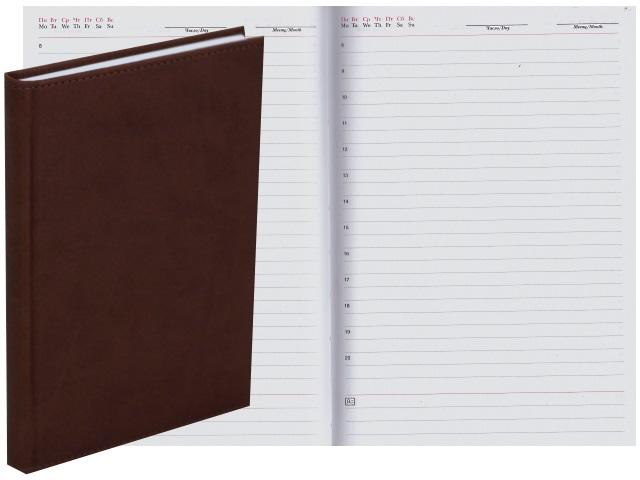 Ежедневник А5 кожзам 128л Апплика Sorrento коричневый С2616-127