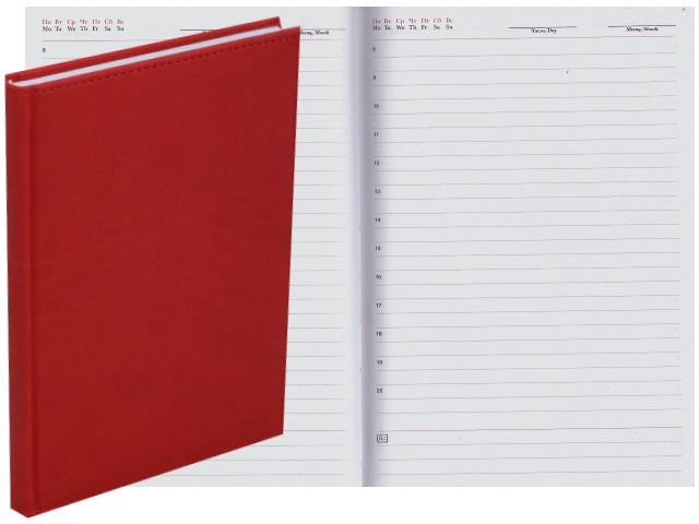 Ежедневник А5 кожзам 128л Апплика Sorrento красный С2616-132