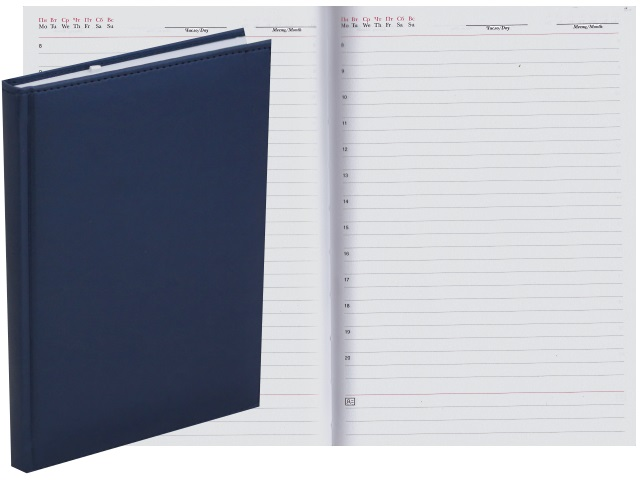 Ежедневник А5 кожзам 128л Апплика Venice синий металл С2616-141