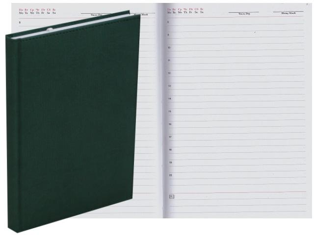 Ежедневник А5 кожзам 128л Апплика Rome темно-зеленый С2616-144