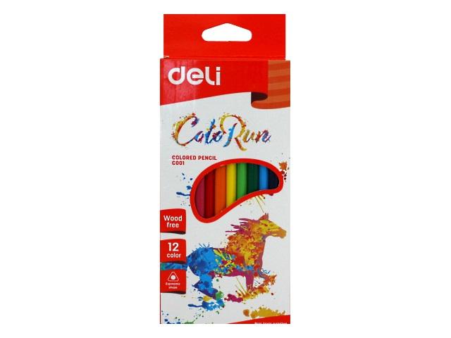 Карандаши цветные 12цв Deli ColoRun пластик трехгранные EC00100