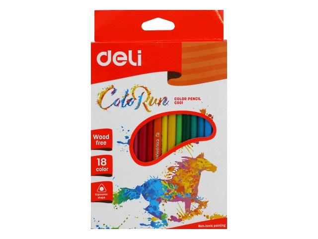 Карандаши цветные 18цв Deli ColoRun пластик трехгранные EC00110
