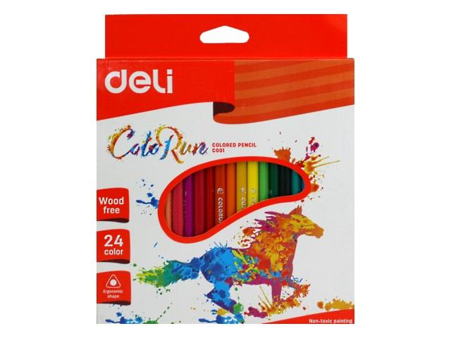 Карандаши цветные 24цв Deli ColoRun пластик трехгранные EC00120
