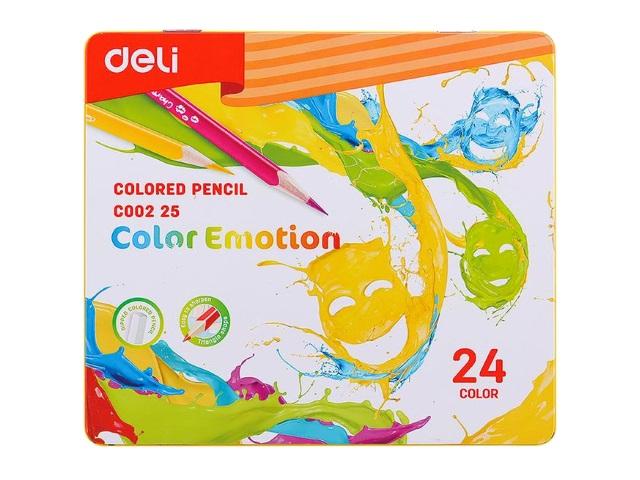Карандаши цветные 24цв Deli Color Emotion трехгранные EC00225 в мет.кор.