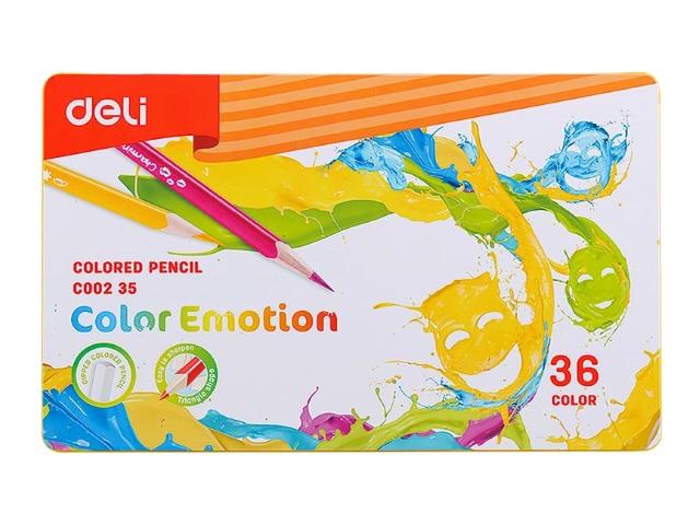 Карандаши цветные 36цв Deli Color Emotion трехгранные EC00235 в мет.кор.